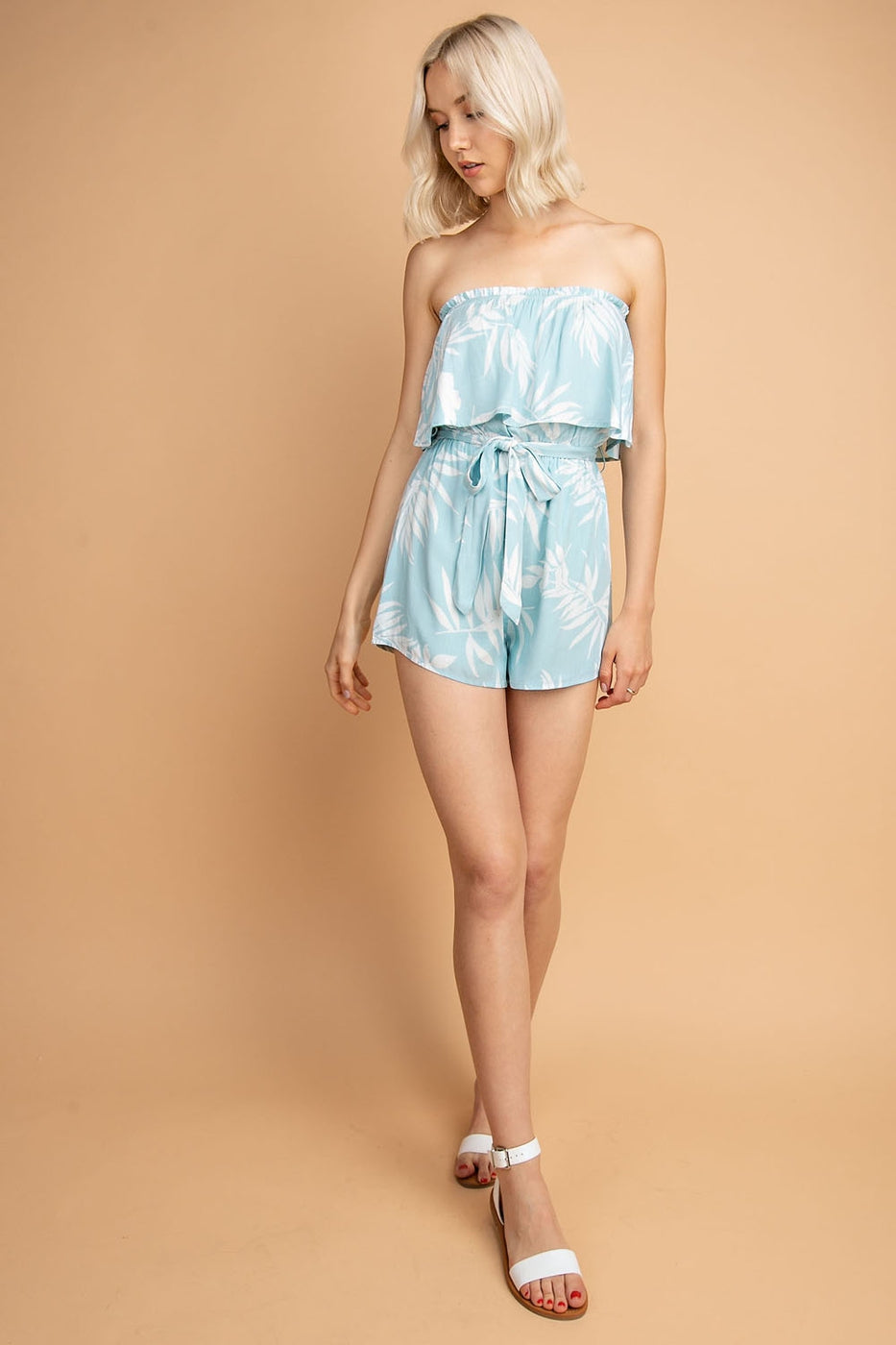 Tropical Palm Print Two- Tiered Tube Romper Siin Bees