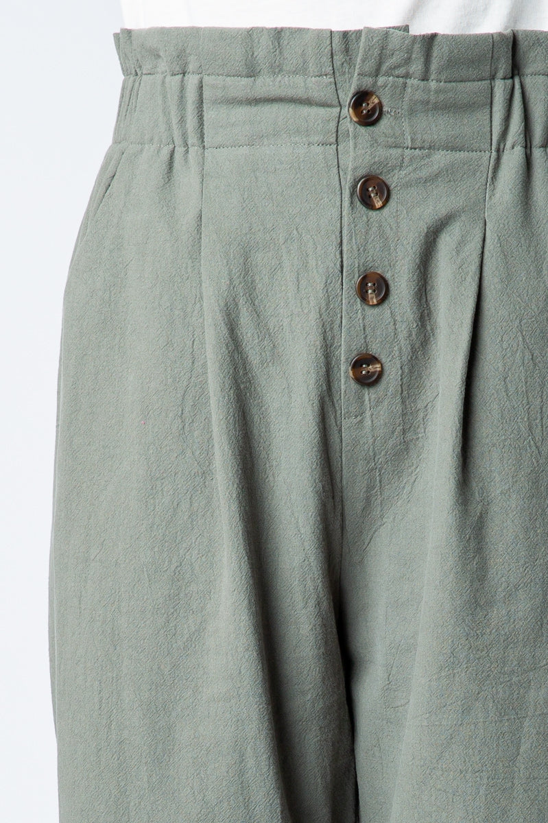 Olive Office Pants Wide Opening Button Detail Siin Bees