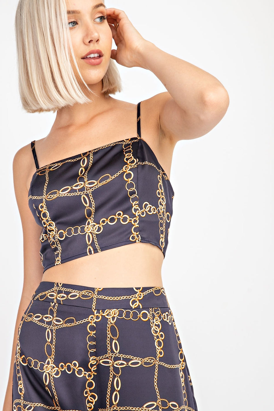 Chain Print Crop Top In Navy Siin Bees