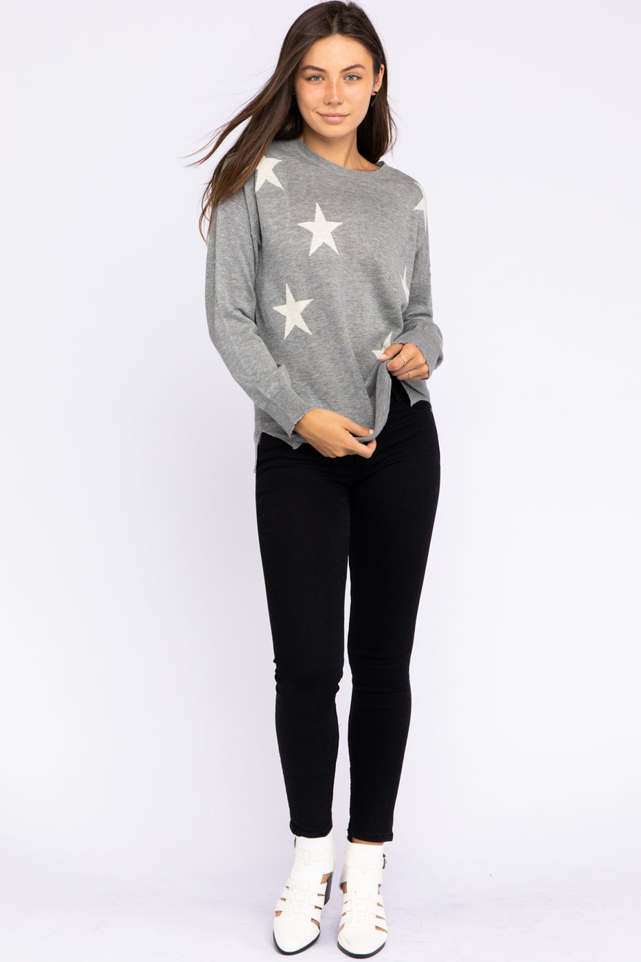 Light Weight Star Sweater In Grey Siin Bees