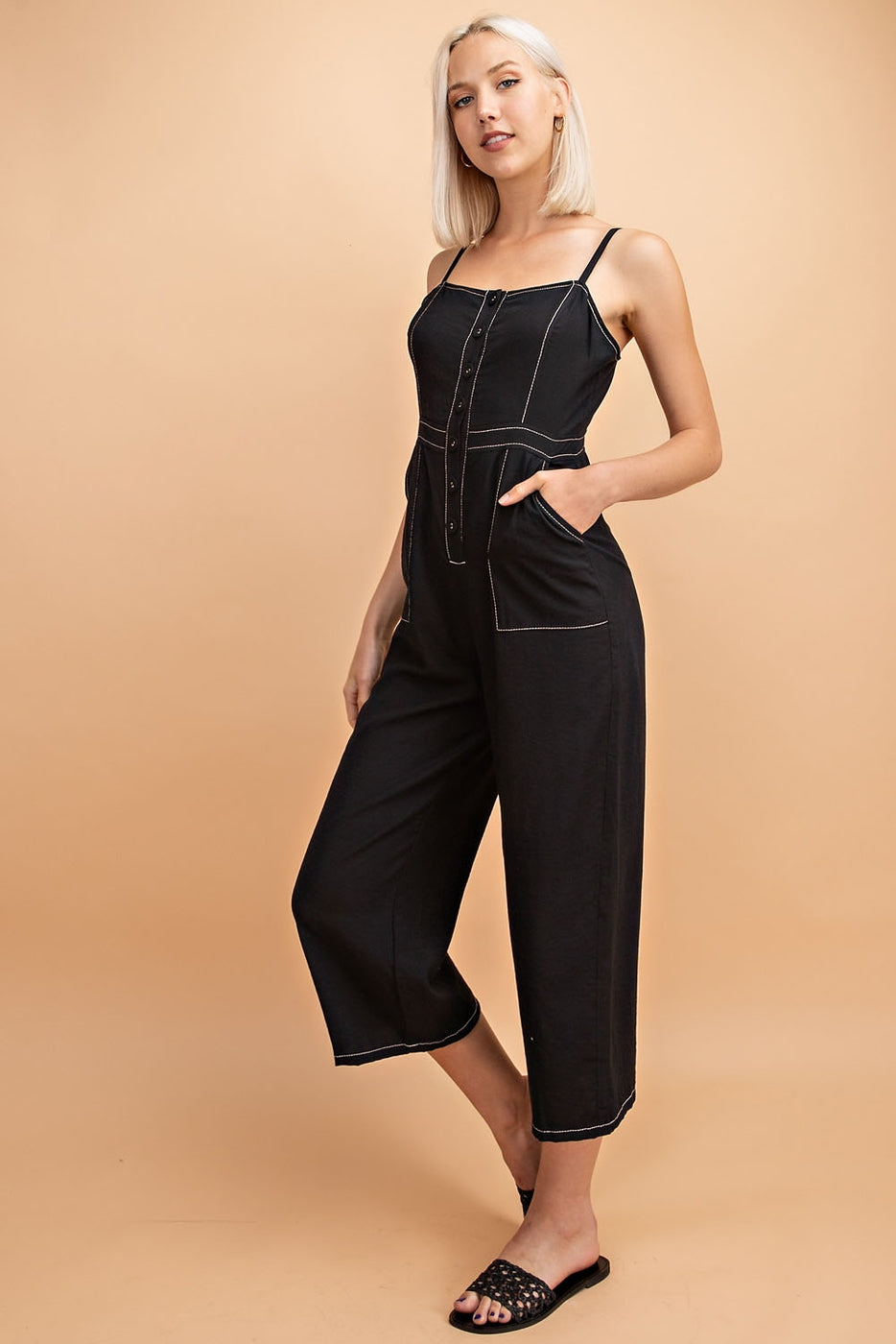 Emma Contrast Stitch Detail Knit Jumpsuit with 2 front pocket Siin Bees