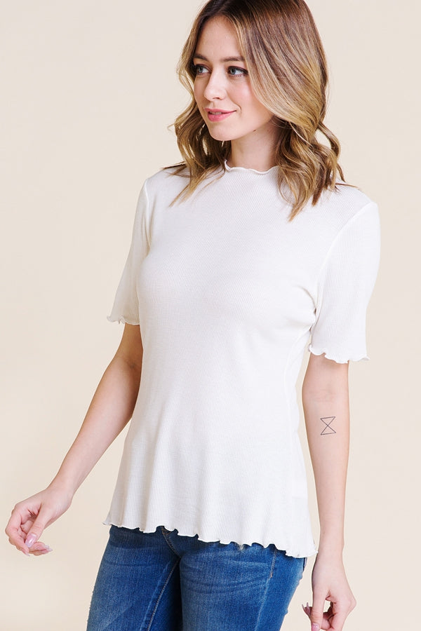 Charming Mock Neck Top With Merrow Hem In White Siin Bees