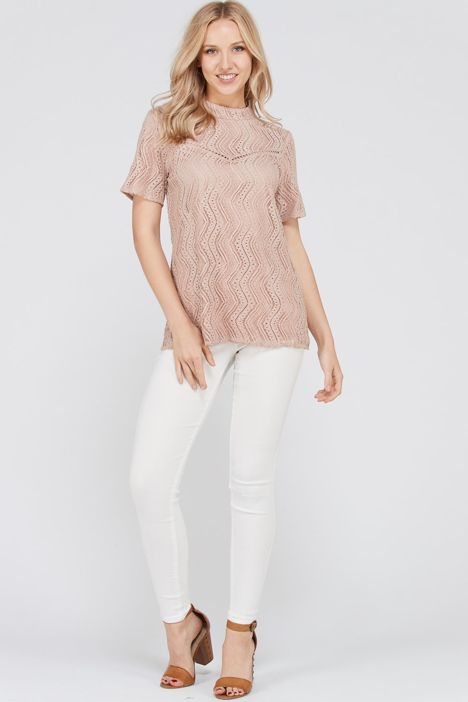 Charming Short Sleeve Top All Over Lace With Crew Neck In Mauve Siin Bees