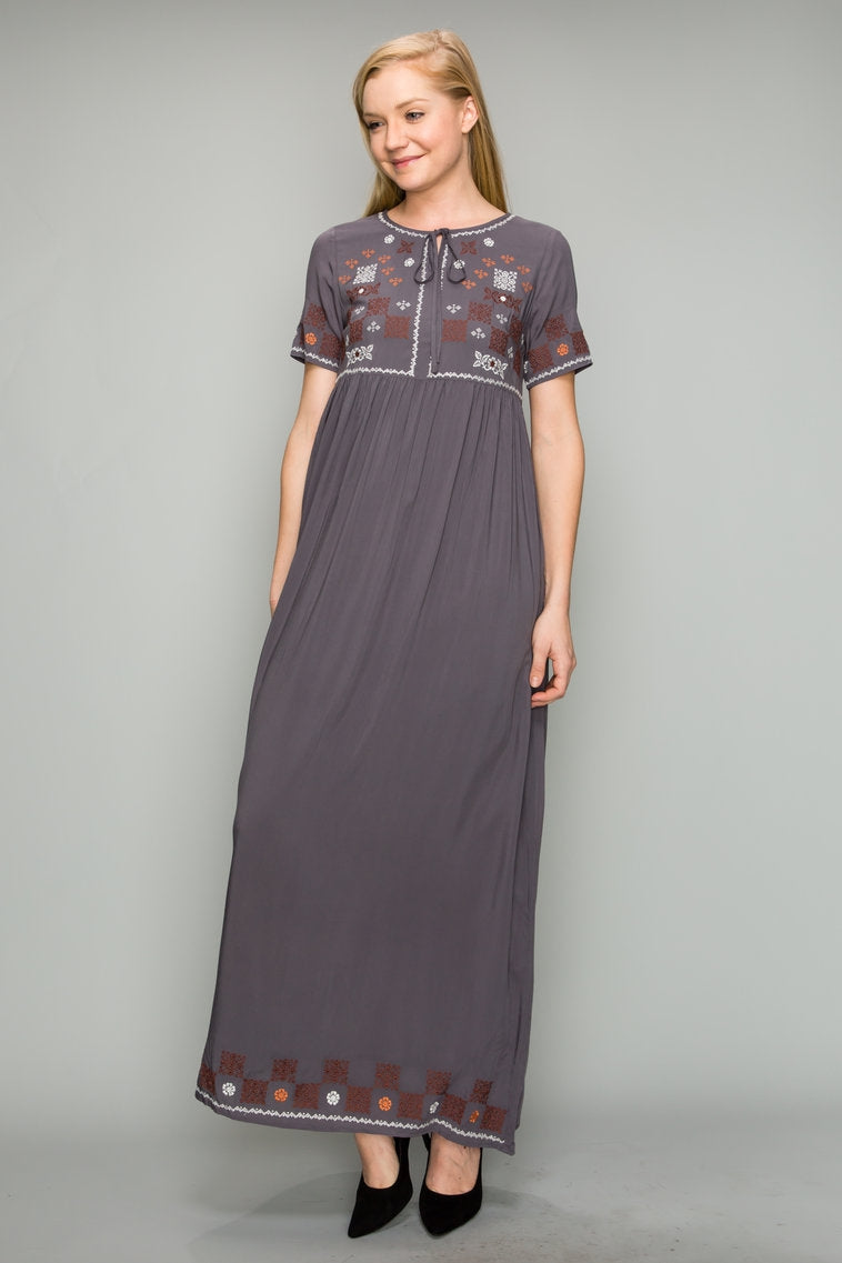 Keira Short Sleeve Dress Embroidery With Tie Front Detail Siin Bees