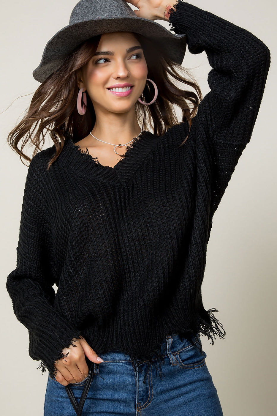 Black Sweater With Frayed V Neck Siin Bees