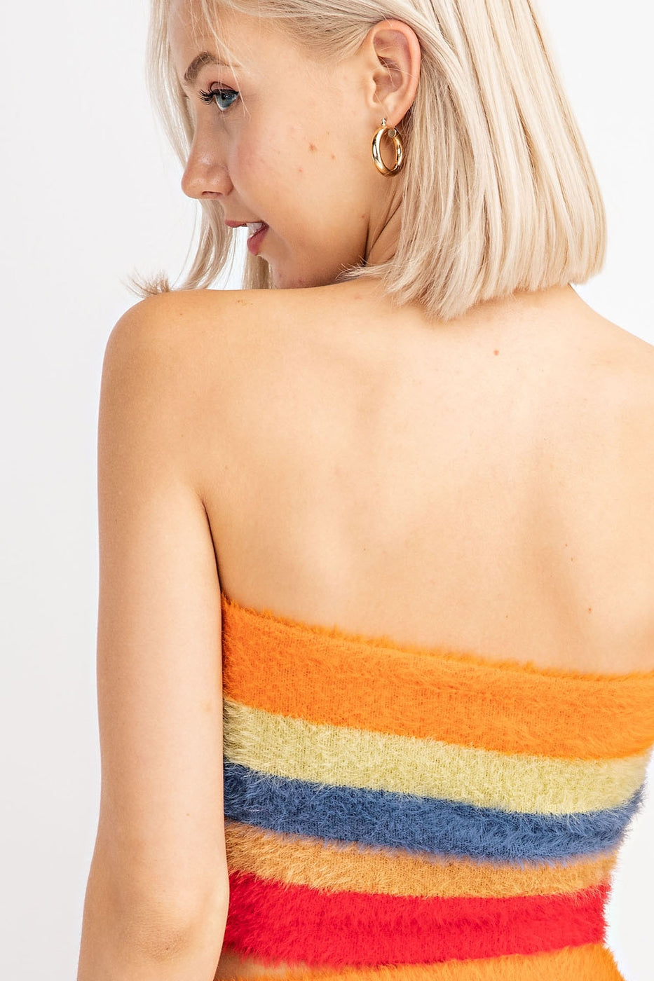Textured Striped Knit Tube Top In Rainbow Stripe Siin Bees