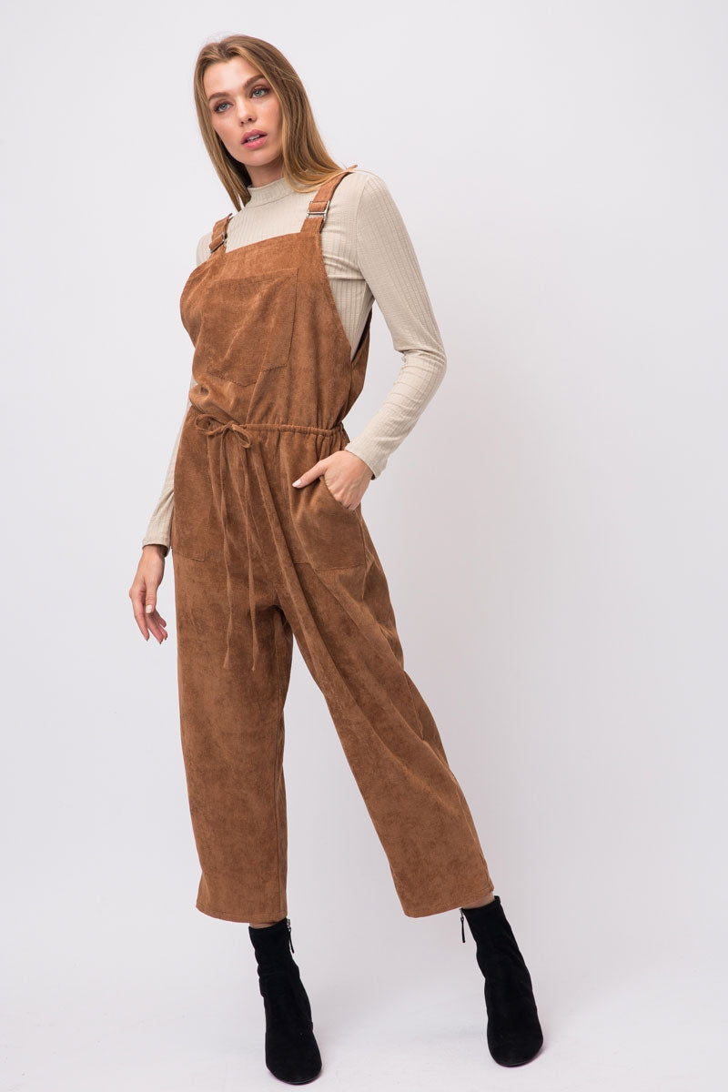 Brown Corduroy Overall Jumpsuit With 2 Pants Pockets And One Chest Pocket Siin Bees