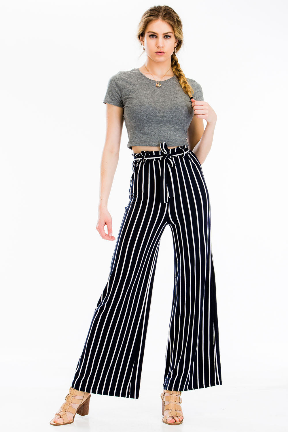 Siin Stretchy Belted Wide-leg Pants Siin Bees