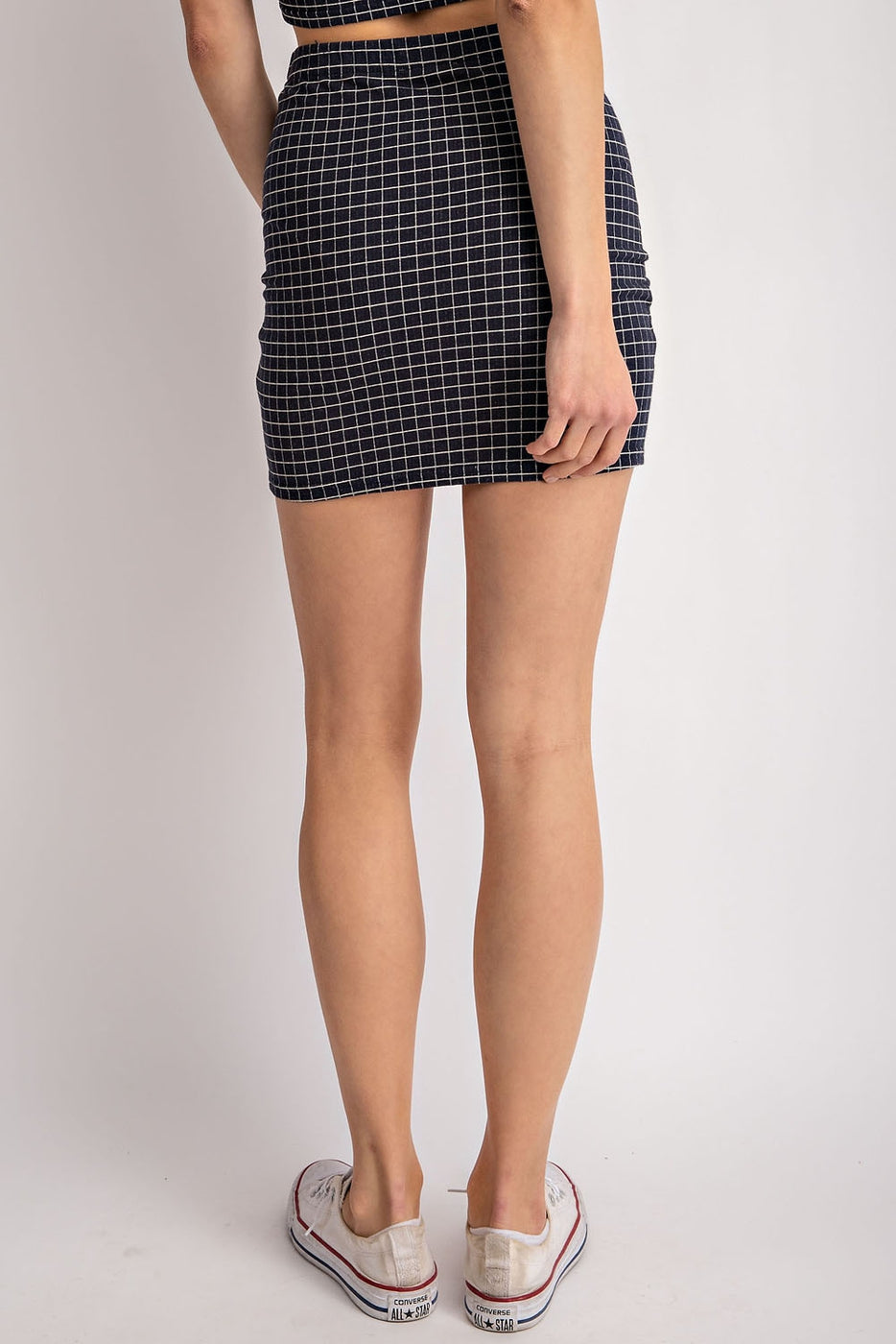 Leilani Mini Skirt With Zip up Stretched Knit In Navy Siin Bees