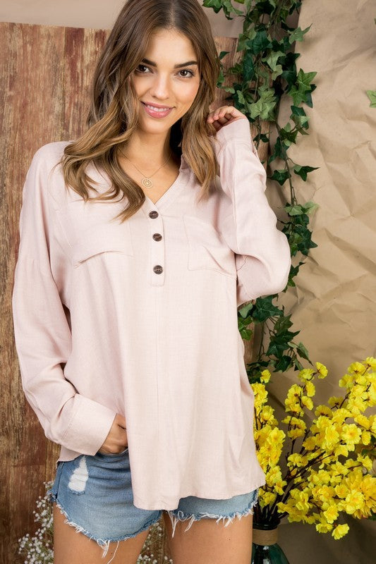 3/4 Bishop Sleeve with Button Front Pocket Top Siin Bees
