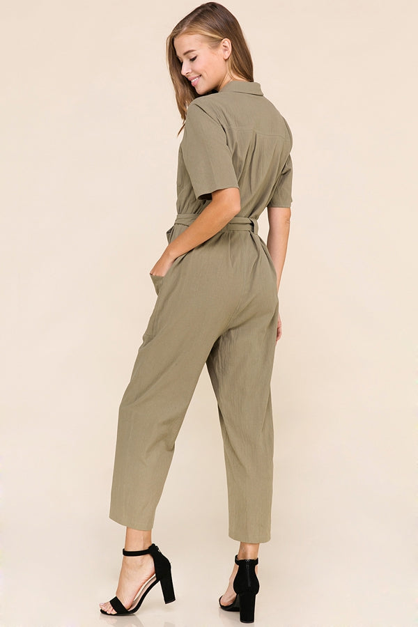 Margaret Short Sleeve Jumpsuit In Olive Siin Bees