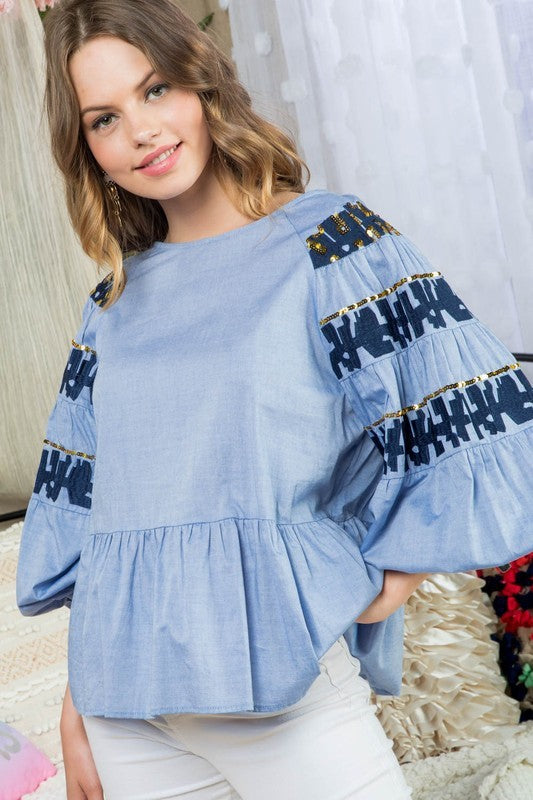 Round Neck Bubble Sleeve Ruffle Embroidered With Sequin Detail Back Open With Button Top Siin Bees