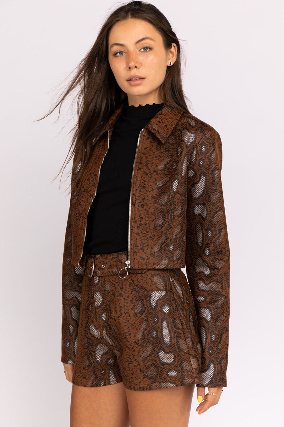 Snake Skin Jacket In Brown Python Siin Bees