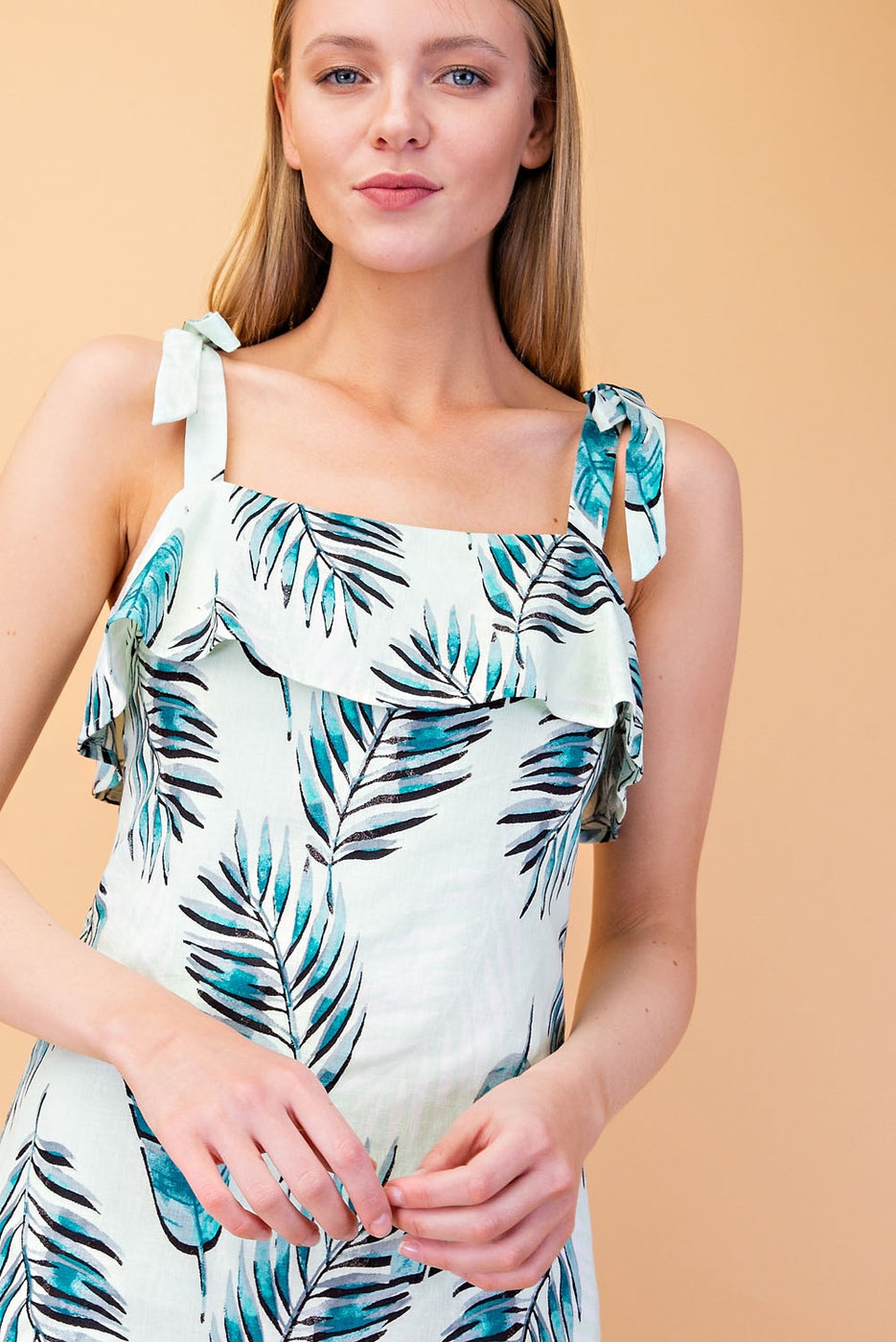Ruby Mini Dress With Tropical Print Self Tie Strap In Light Green - Siin Bees