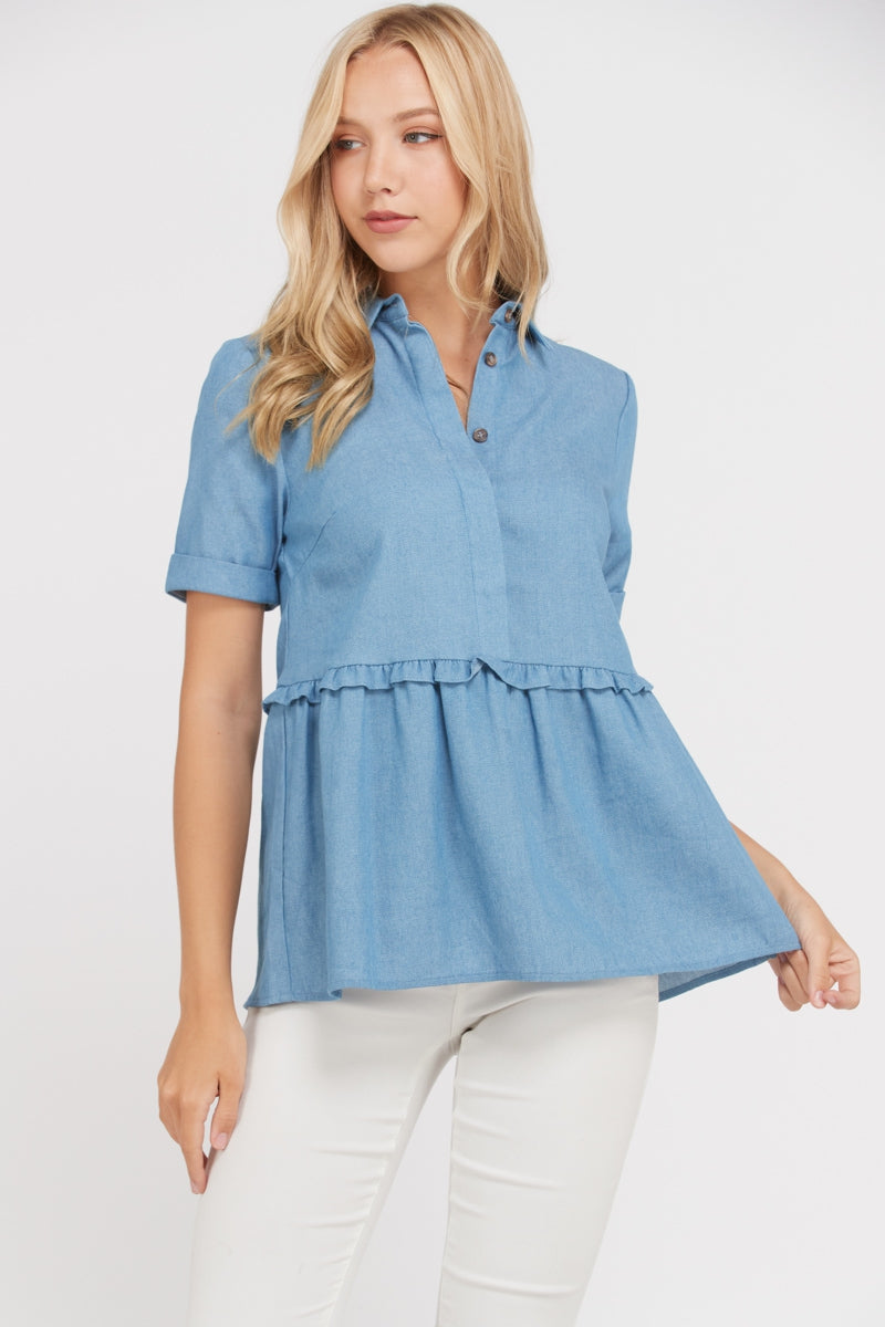 Exciting Denim Short Sleeve Shirt Top Siin Bees