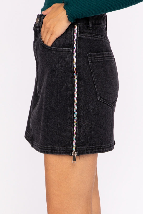 Denim Mini Skirt With Side Zippers In Vintage Black Siin Bees
