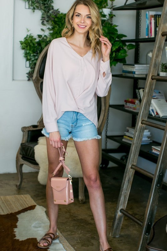 Blush Top With V-Neck Front Overlap with Front Button Siin Bees