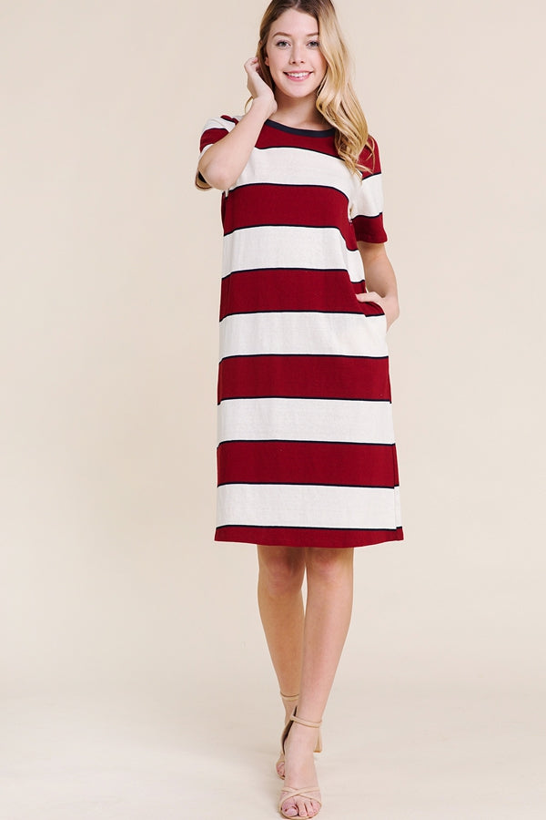 Kaylee Short Sleeve Dress Knit Stripe Siin Bees