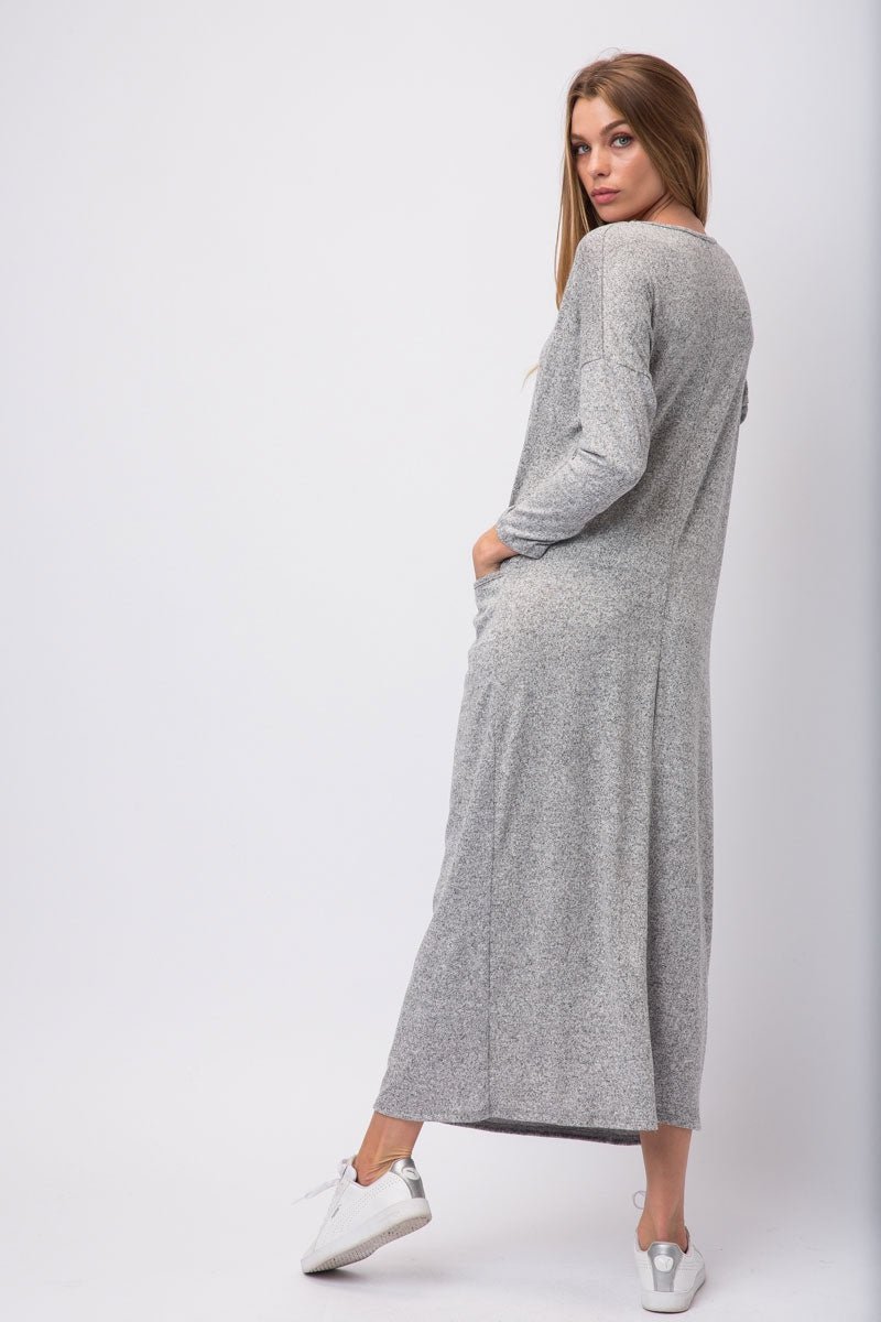 Heather Grey Hacci Knit Maxi Shirt Dress With Pockets On Either Side Siin Bees