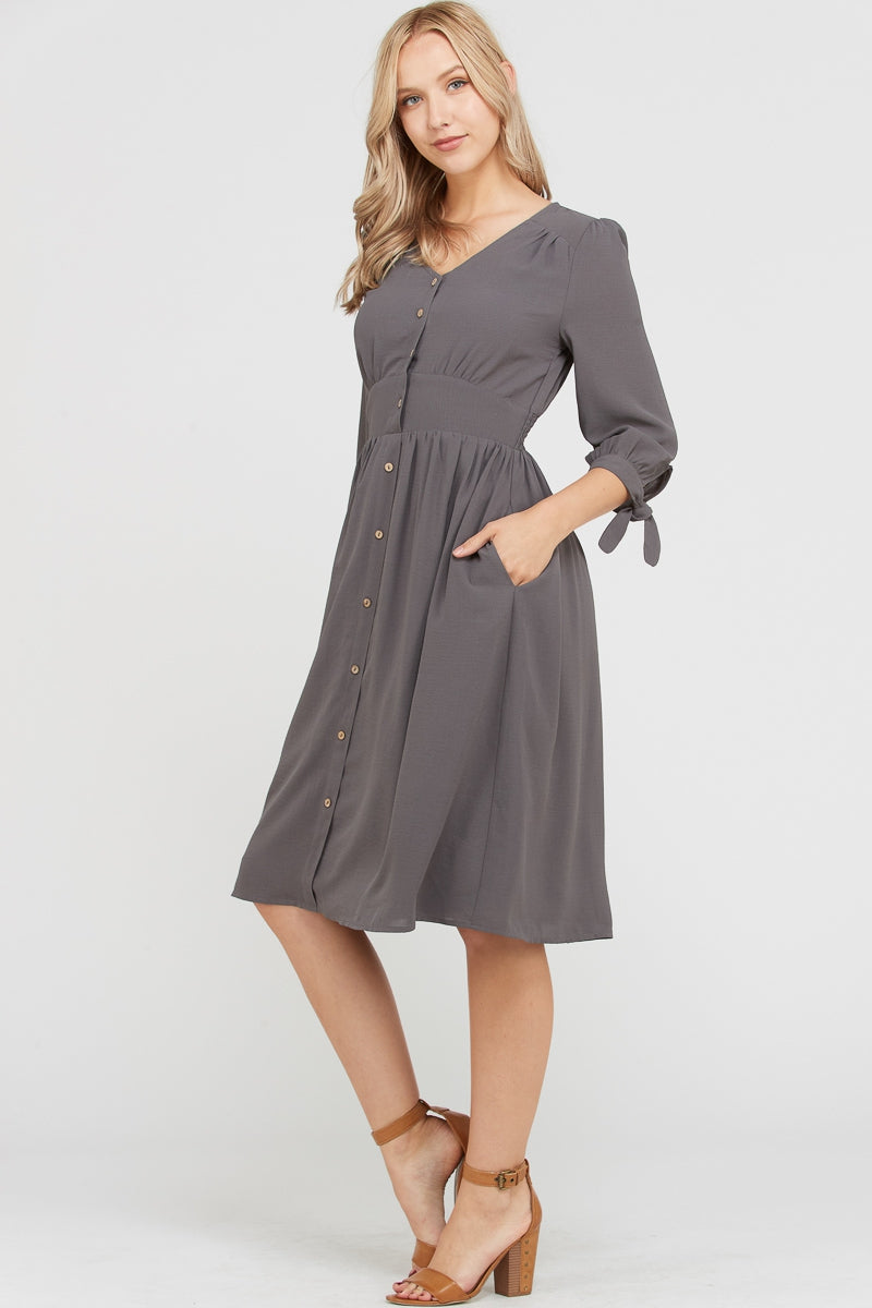 Olivia 3/4 Sleeve Leah Midi Dress With Smocked Waist Siin Bees