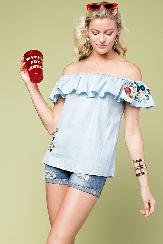 Embroidery Off Should Ruffle Washed Denim Top Siin Bees