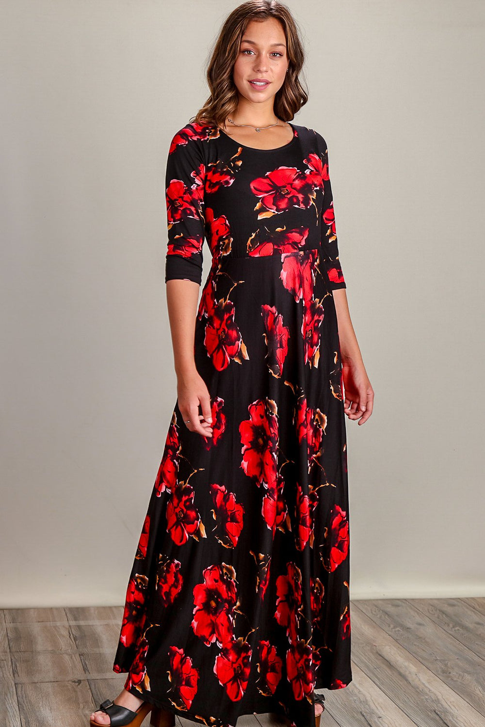Jada Black & Red Floral Fit & Flare Maxi Dress Siin Bees