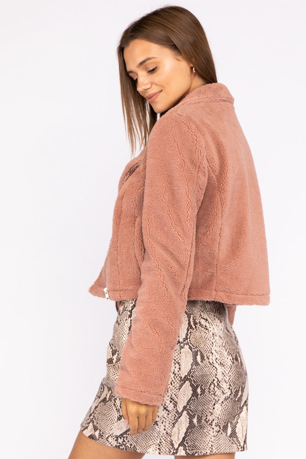 Sherpa Moto Jacket In Dusty Pink Siin Bees