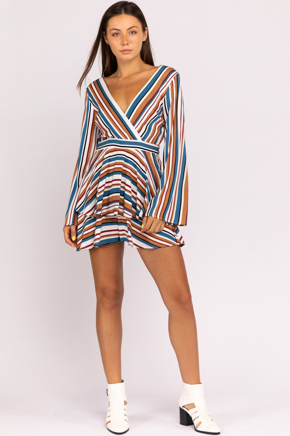 Emily Stripe Tiered Long Sleeve Romper With Waist And Back Tie Siin Bees