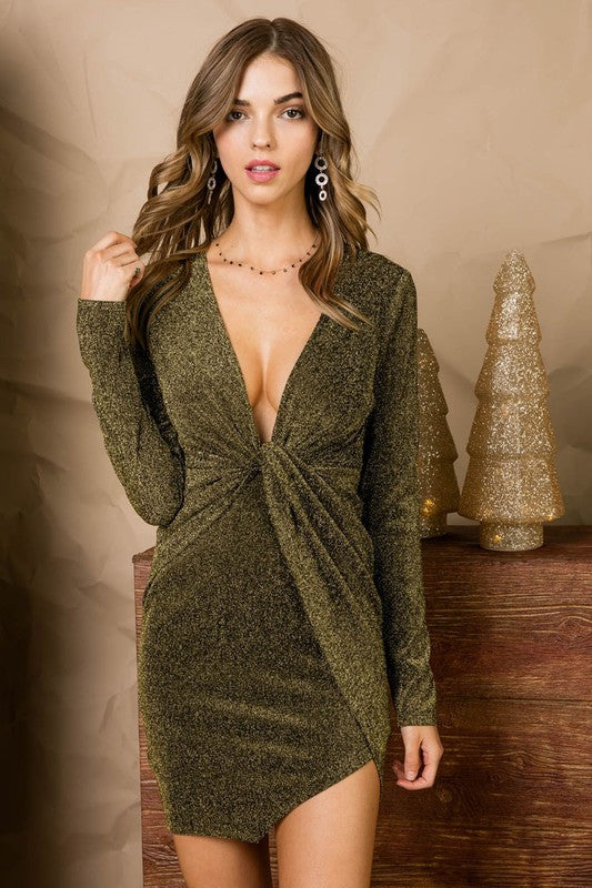 Gold Asymmetric long sleeve Stretch Glitter Knit Bodycon Dress With Zipper Back Siin Bees