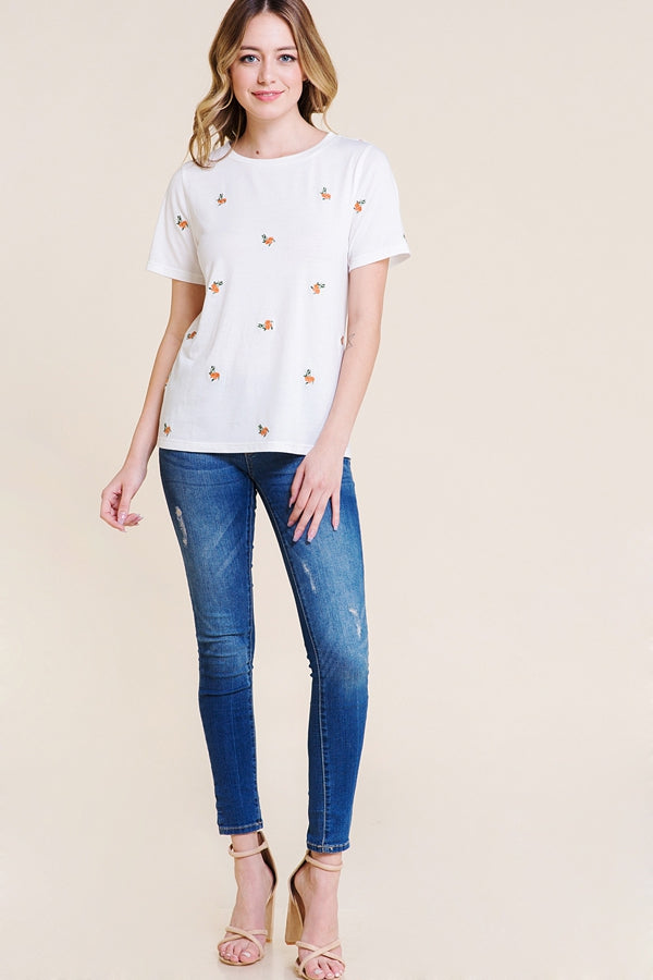 Ivory Short Sleeve Top Floral Embroider Siin Bees