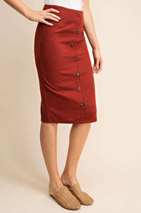 Button Midi Skirt In Rust Siin Bees