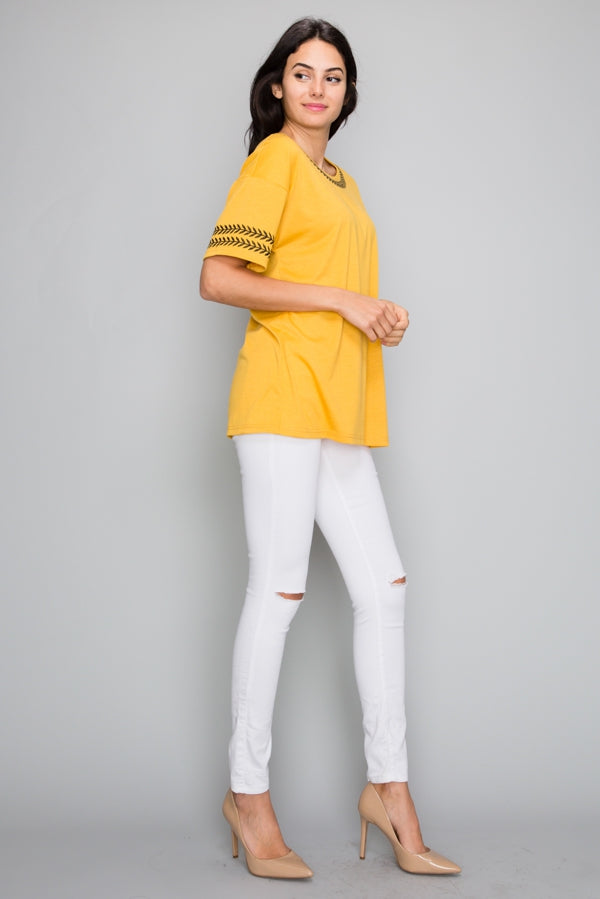 Mustard Short Sleeve Top Embroidered Knit Siin Bees
