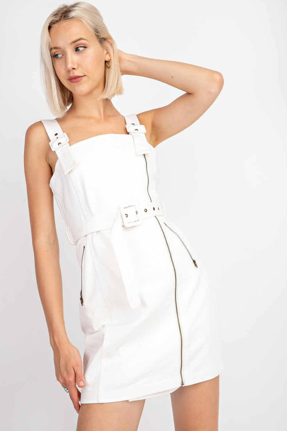 Lucy Denim Belted Moto Dress In White Siin Bees