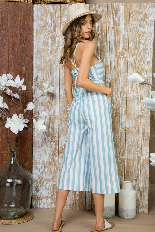 Isabella Powder Blue Waist Belt with Side Pocket Back Bow Tie Jumpsuit Siin Bees