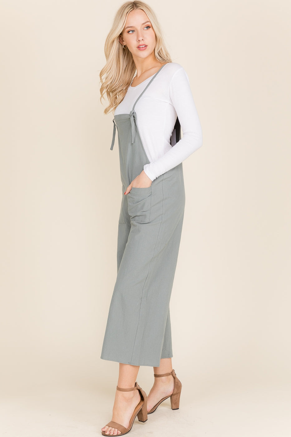 Ellie Overall With Solid Adjustable Tie Siin Bees