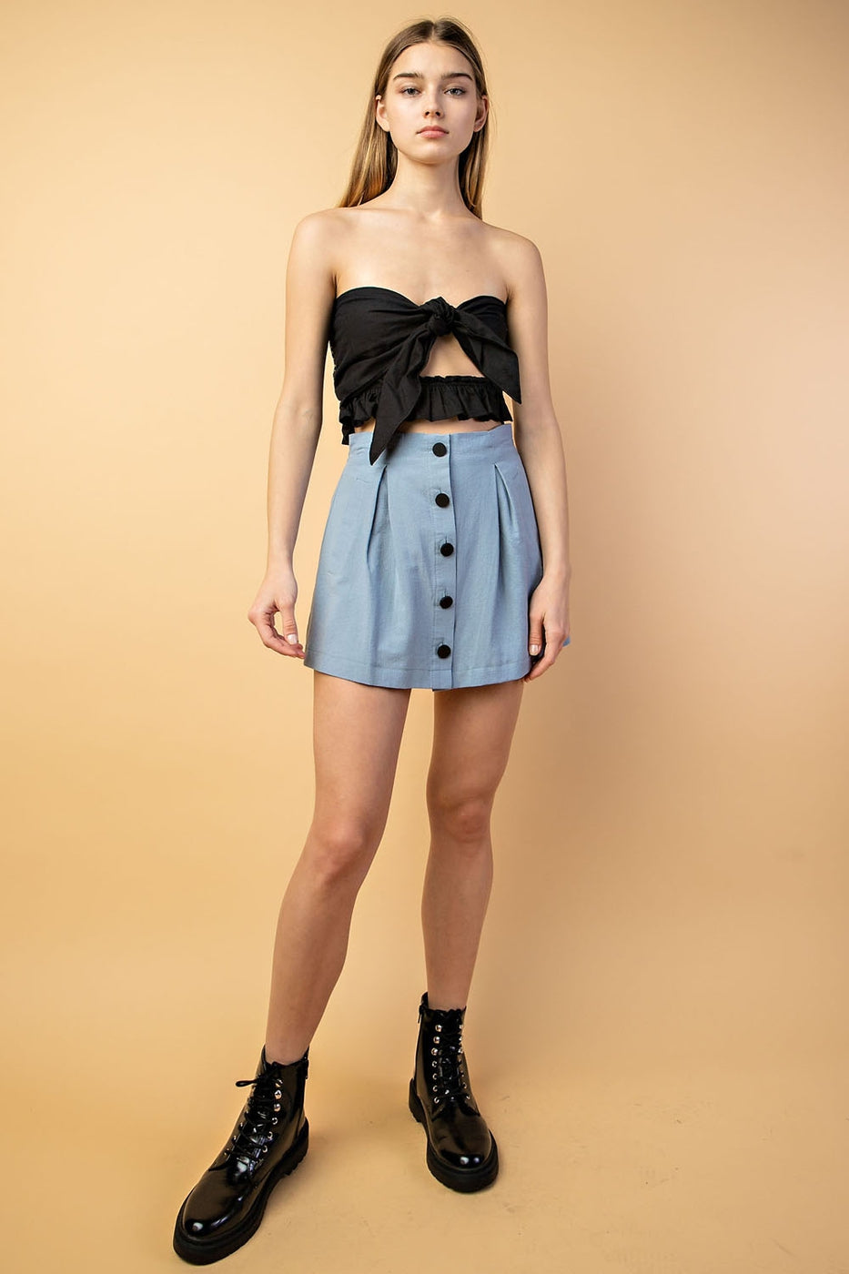Cropped Strapless Front Tie Top In Black Siin Bees
