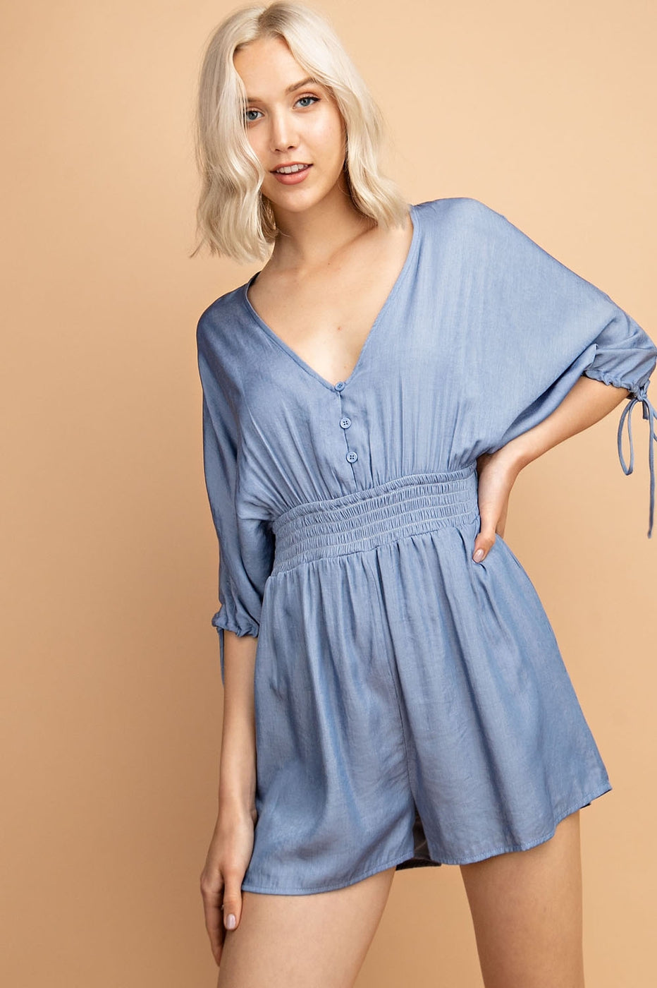Lily Romper With Smocking Waist Dolman Sleeve In Denim Blue Siin Bees