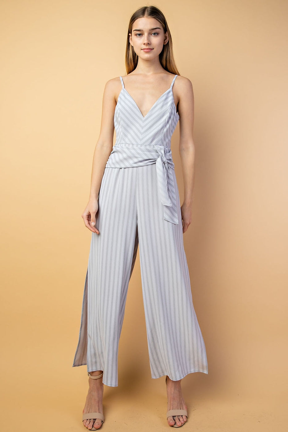 V-Neck Front Tie Jumpsuit With Side Slit In Grey Siin Bees