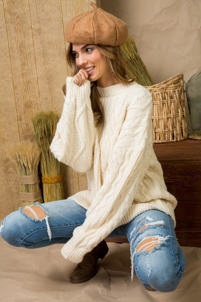 Cable Knit Long Sleeve Crewneck Basic Sweater Siin Bees