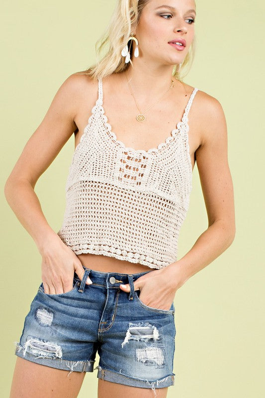 Cold Shoulder With Scallop Edge Accent Cami Siin Bees