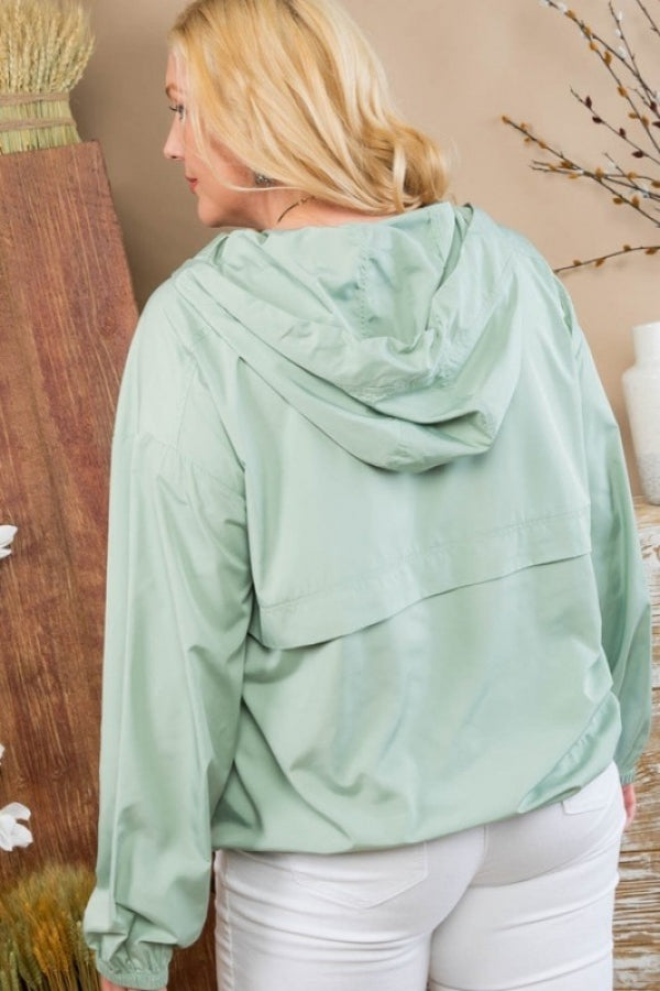 Light Olive Plus Size Solid Pullover Windbreaker Siin Bees