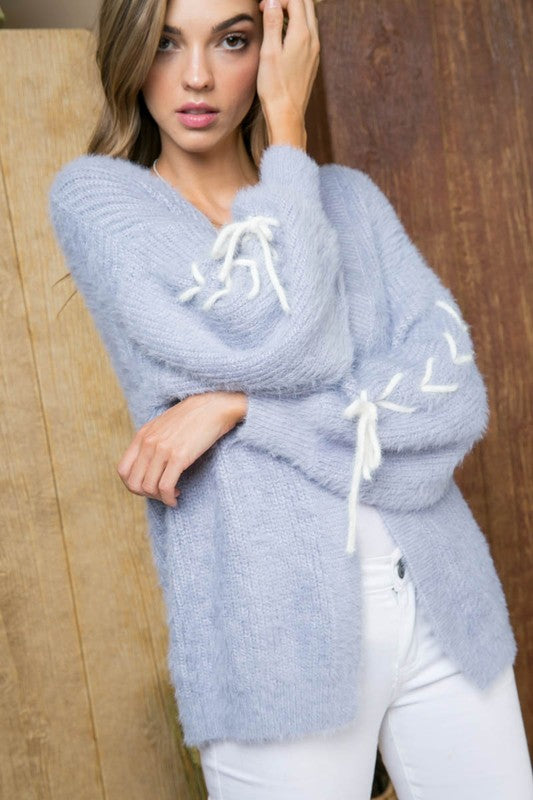 Silver Cloud Cardigan with Tie String Long Sleeve Fluffy Open Front Siin Bees