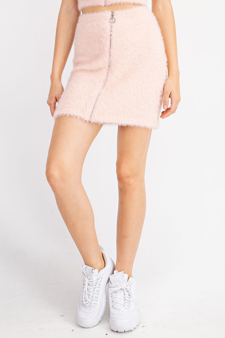 Zipper Up Eyelash Bodycon Skirt In Light Pink Siin Bees