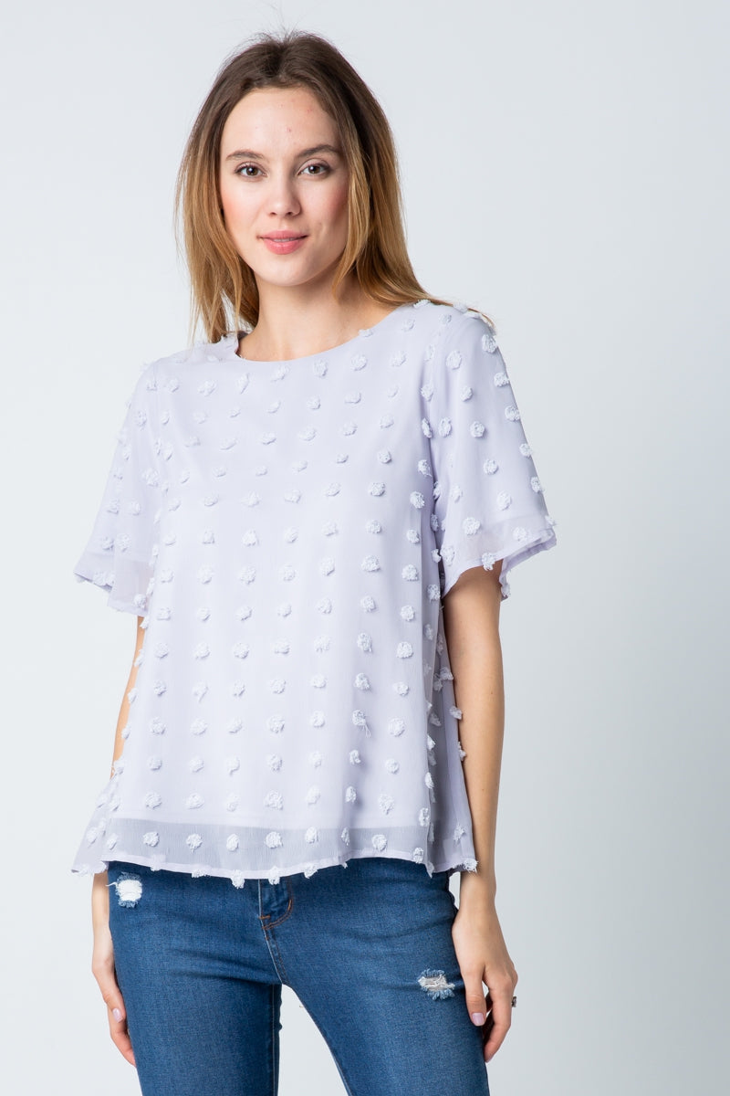 Admirable White Short Sleeve Top With Swiss Dot Siin Bees