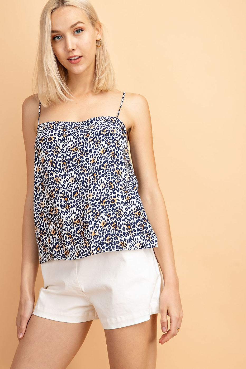 Sleeveless Top With Straight Neck Leopard Print In Leopard Siin Bees