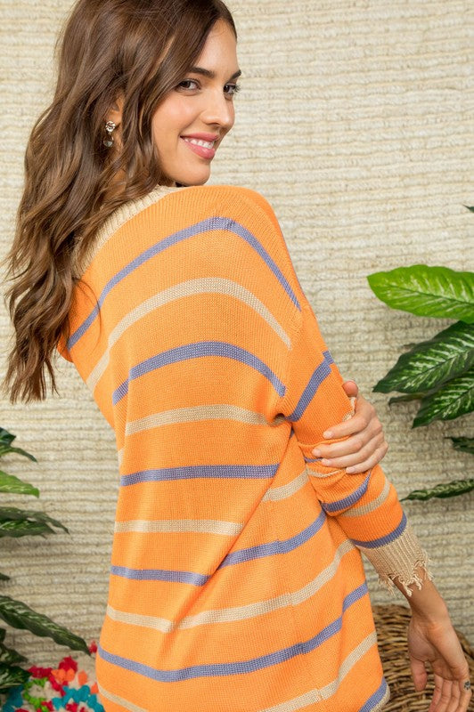 Distressed Trim Stripe Sweater Top Siin Bees