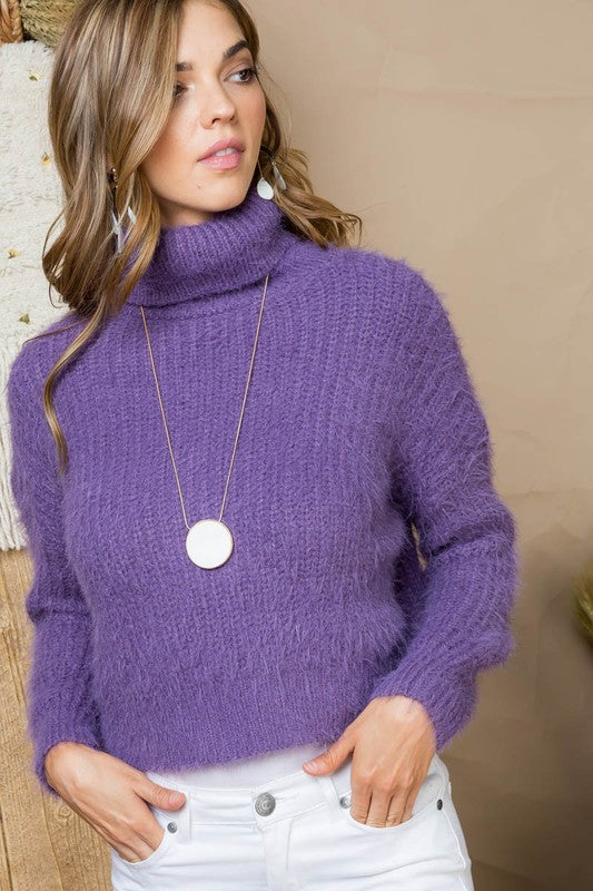Purple Sweater Solid Cowl Neck Fur Long Sleeve Siin Bees