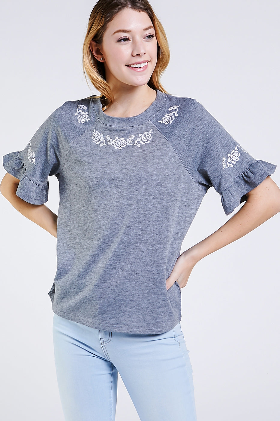 Stylish Knit Top Short Sleeve With Floral Embroidery Siin Bees