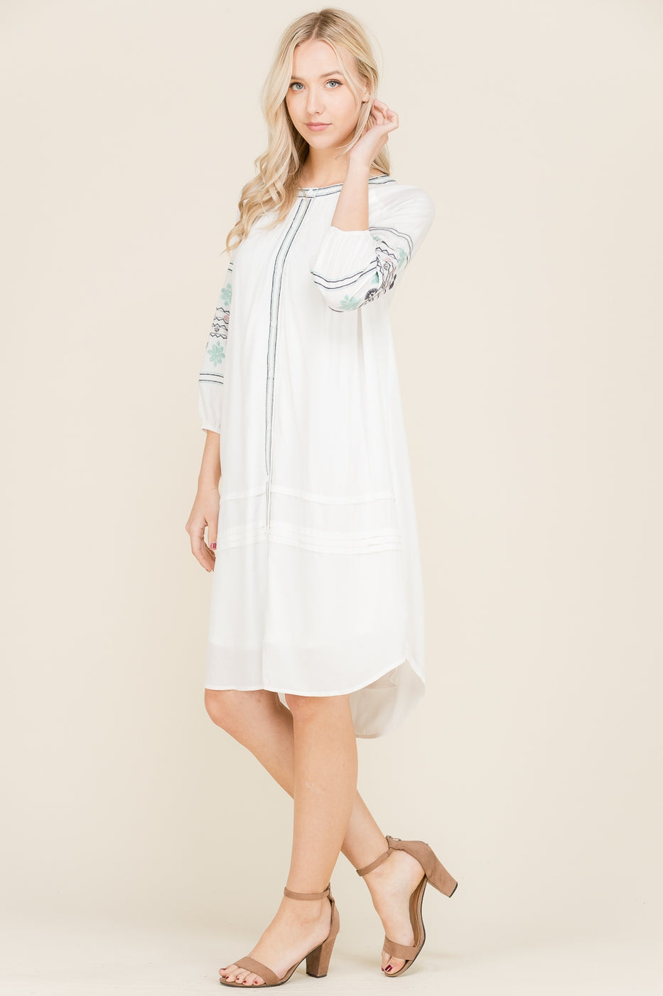 Natalie Fashionable Midi Dress Front Tie With Embroidery Detail Siin Bees