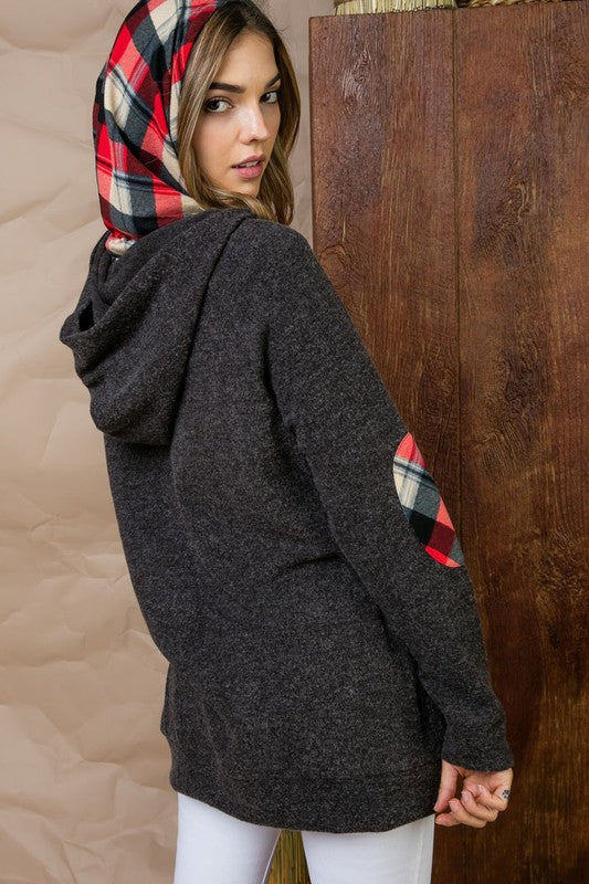 Charcoal Plaid Elbow Patch Detail Two Tone Hoodie Jacket With Shoulder Zipper Siin Bees